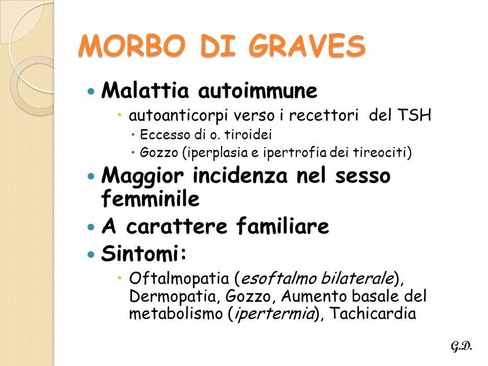 MORBO DI GRAVES Malattia autoimmune  autoanticorpi verso i recettori del TSH  Eccesso di o.