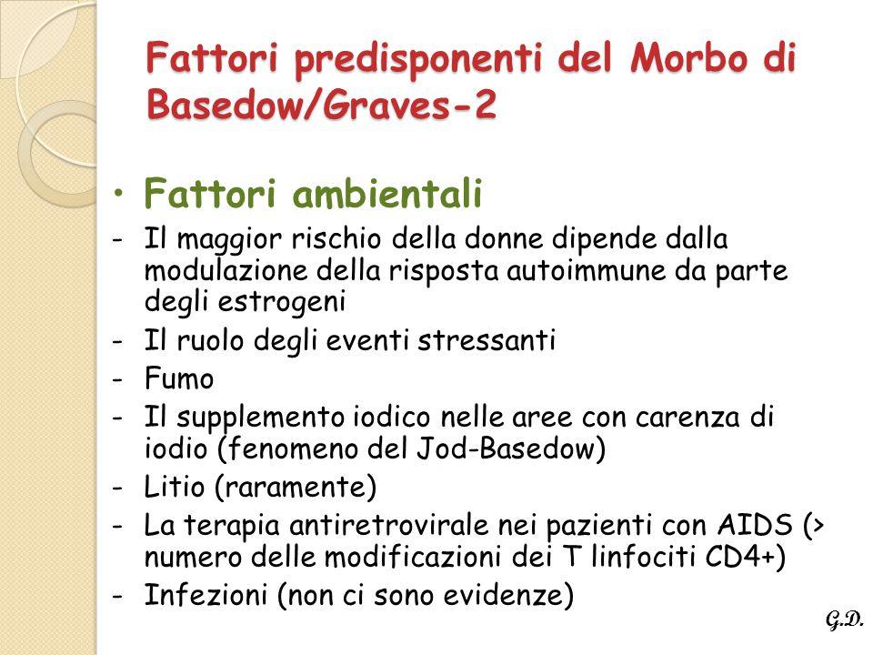 Fattori predisponenti del Morbo di Basedow/Graves-2 Fattori ambientali -Il maggior rischio della donne dipende dalla modulazione della risposta autoimmune da parte degli estrogeni -Il ruolo degli eventi stressanti -Fumo -Il supplemento iodico nelle aree con carenza di iodio (fenomeno del Jod-Basedow) -Litio (raramente) -La terapia antiretrovirale nei pazienti con AIDS (> numero delle modificazioni dei T linfociti CD4+) -Infezioni (non ci sono evidenze) G.D.