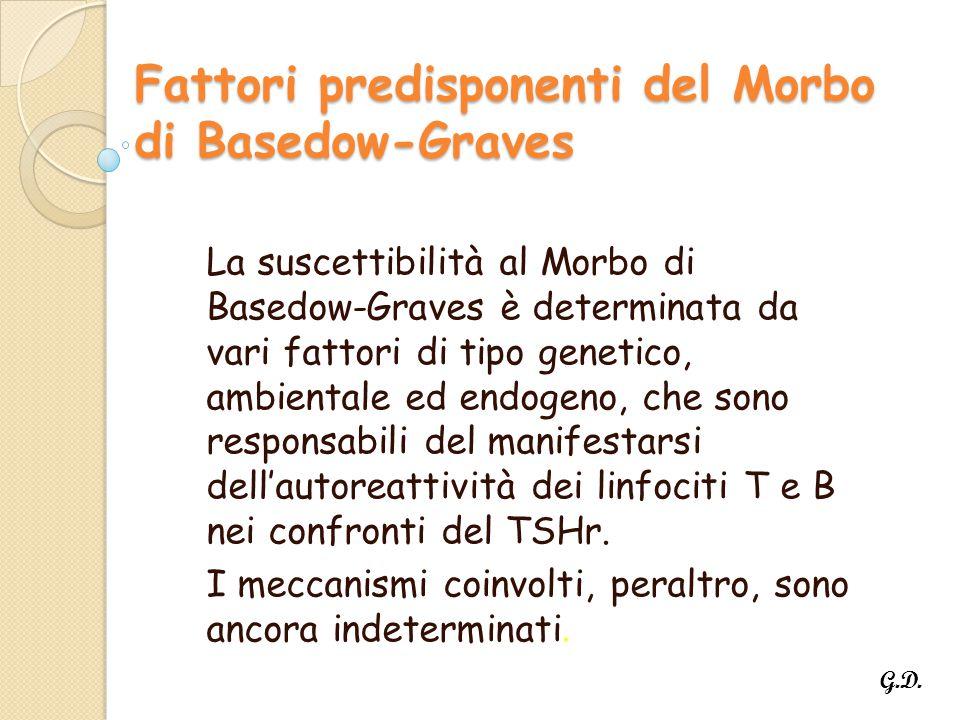 Fattori predisponenti del Morbo di Basedow-Graves La suscettibilità al Morbo di Basedow-Graves è determinata da vari fattori di tipo genetico, ambientale ed endogeno, che sono responsabili del manifestarsi dell'autoreattività dei linfociti T e B nei confronti del TSHr.