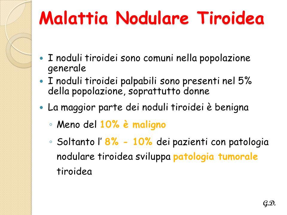 Malattia Nodulare Tiroidea I noduli tiroidei sono comuni nella popolazione generale I noduli tiroidei palpabili sono presenti nel 5% della popolazione, soprattutto donne La maggior parte dei noduli tiroidei è benigna ◦ Meno del 10% è maligno ◦ Soltanto l' 8% - 10% dei pazienti con patologia nodulare tiroidea sviluppa patologia tumorale tiroidea G.D.