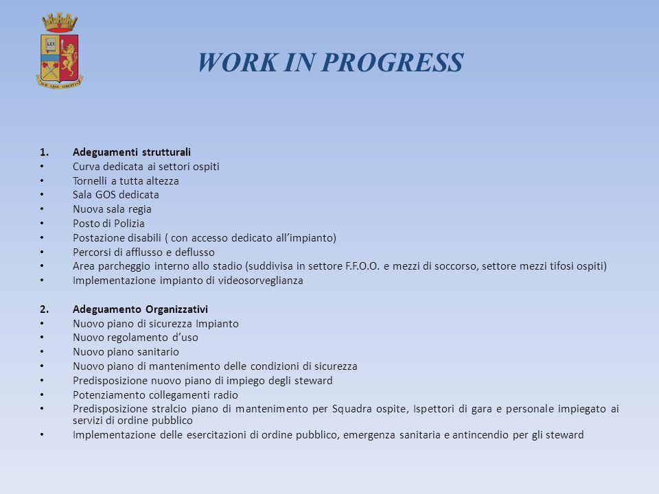 WORK IN PROGRESS 1.Adeguamenti strutturali Curva dedicata ai settori ospiti Tornelli a tutta altezza Sala GOS dedicata Nuova sala regia Posto di Poliz