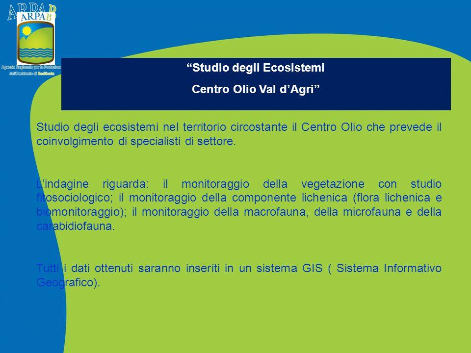 Studio degli ecosistemi nel territorio circostante il Centro Olio che prevede il coinvolgimento di specialisti di settore. L'indagine riguarda: il mon