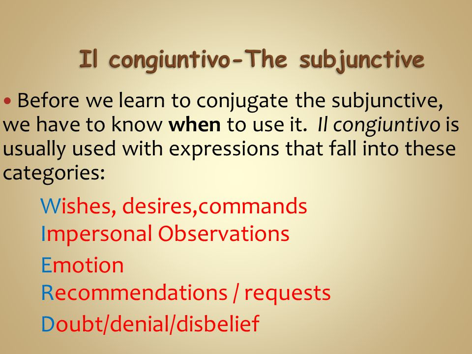 Let's look at the conjugations of the congiuntivo.