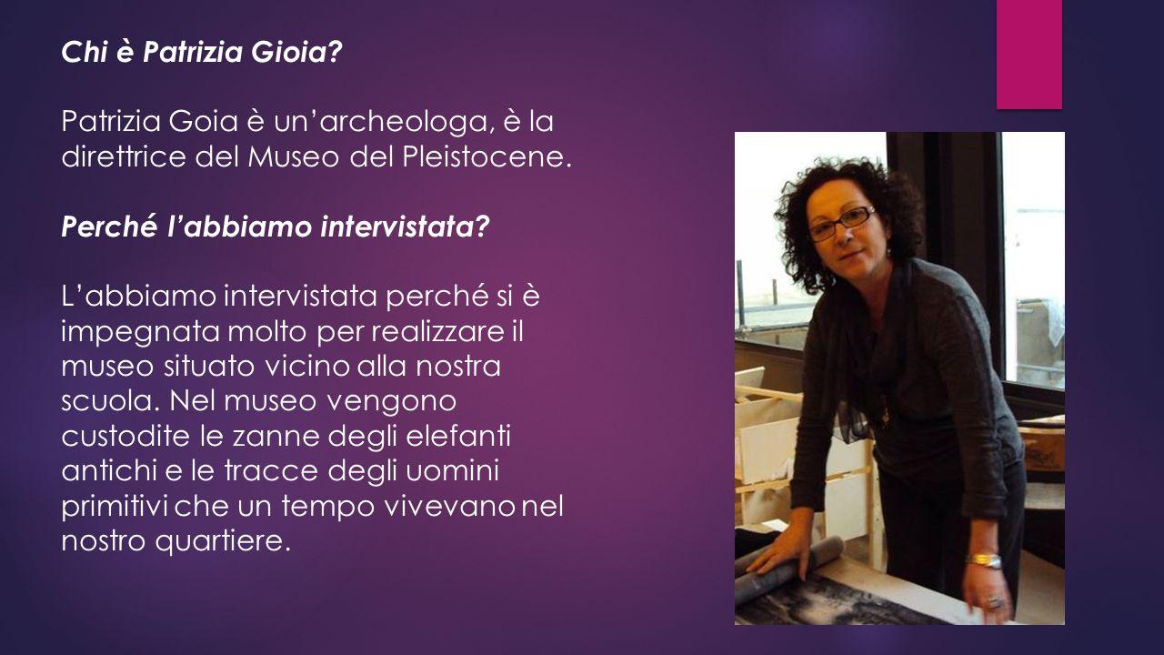 Chi è Patrizia Gioia? Patrizia Goia è un'archeologa, è la direttrice del Museo del Pleistocene. Perché l'abbiamo intervistata? L'abbiamo intervistata