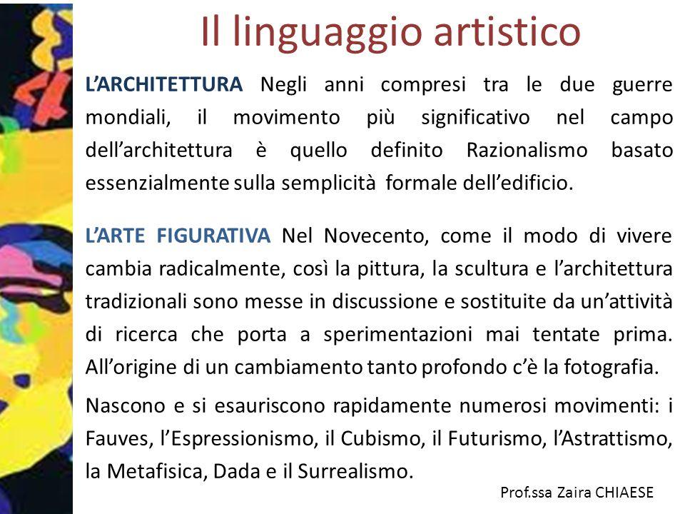Prof.ssa Zaira CHIAESE Il linguaggio artistico L'ARCHITETTURA Negli anni compresi tra le due guerre mondiali, il movimento più significativo nel campo