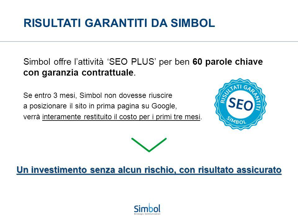 RISULTATI GARANTITI DA SIMBOL Simbol offre l'attività 'SEO PLUS' per ben 60 parole chiave con garanzia contrattuale. Se entro 3 mesi, Simbol non doves