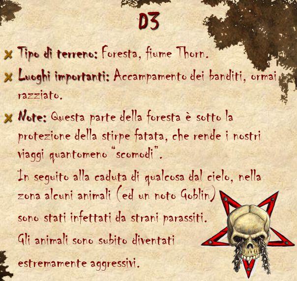 D3 Tipo di terreno: Tipo di terreno: Foresta, fiume Thorn. Luoghi importanti: Luoghi importanti: Accampamento dei banditi, ormai razziato. Note: Note: