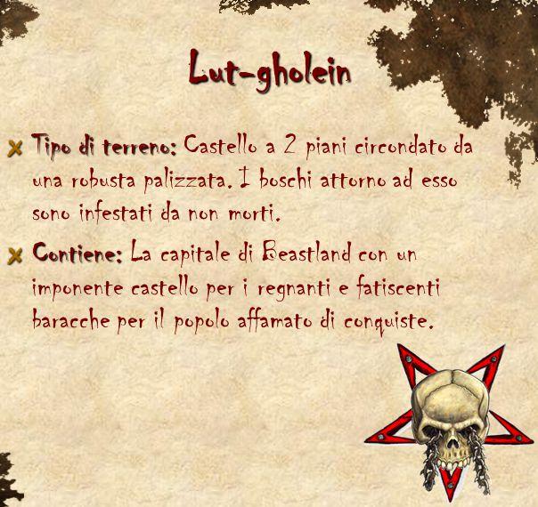 Lut-gholein Tipo di terreno: Tipo di terreno: Castello a 2 piani circondato da una robusta palizzata. I boschi attorno ad esso sono infestati da non m