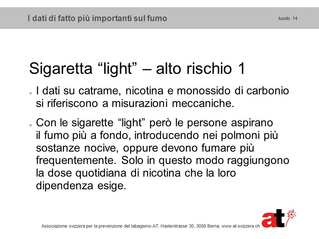 """I dati di fatto più importanti sul fumo Sigaretta """"light"""" – alto rischio 1 I dati su catrame, nicotina e monossido di carbonio si riferiscono a misura"""