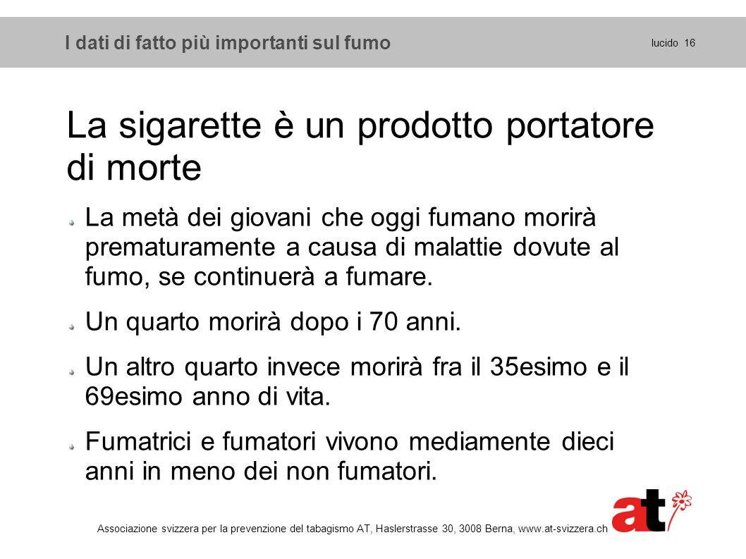 I dati di fatto più importanti sul fumo lucido 16 Associazione svizzera per la prevenzione del tabagismo AT, Haslerstrasse 30, 3008 Berna, www.at-sviz