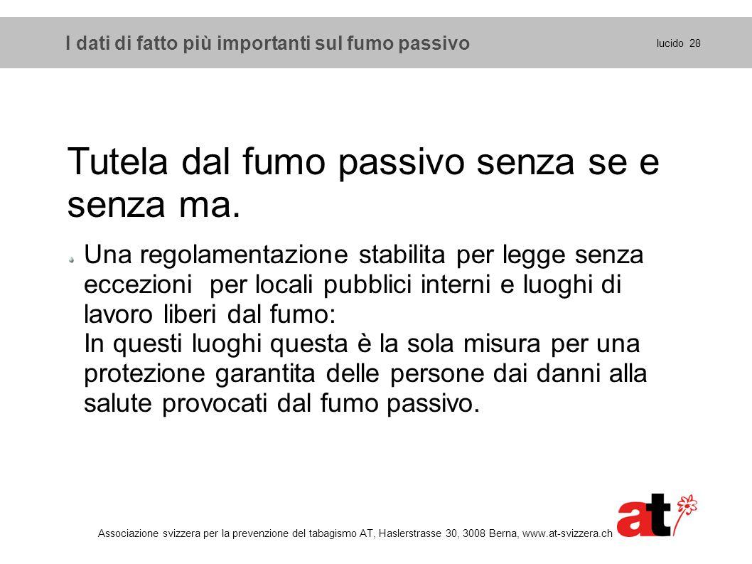 I dati di fatto più importanti sul fumo passivo lucido 28 Associazione svizzera per la prevenzione del tabagismo AT, Haslerstrasse 30, 3008 Berna, www