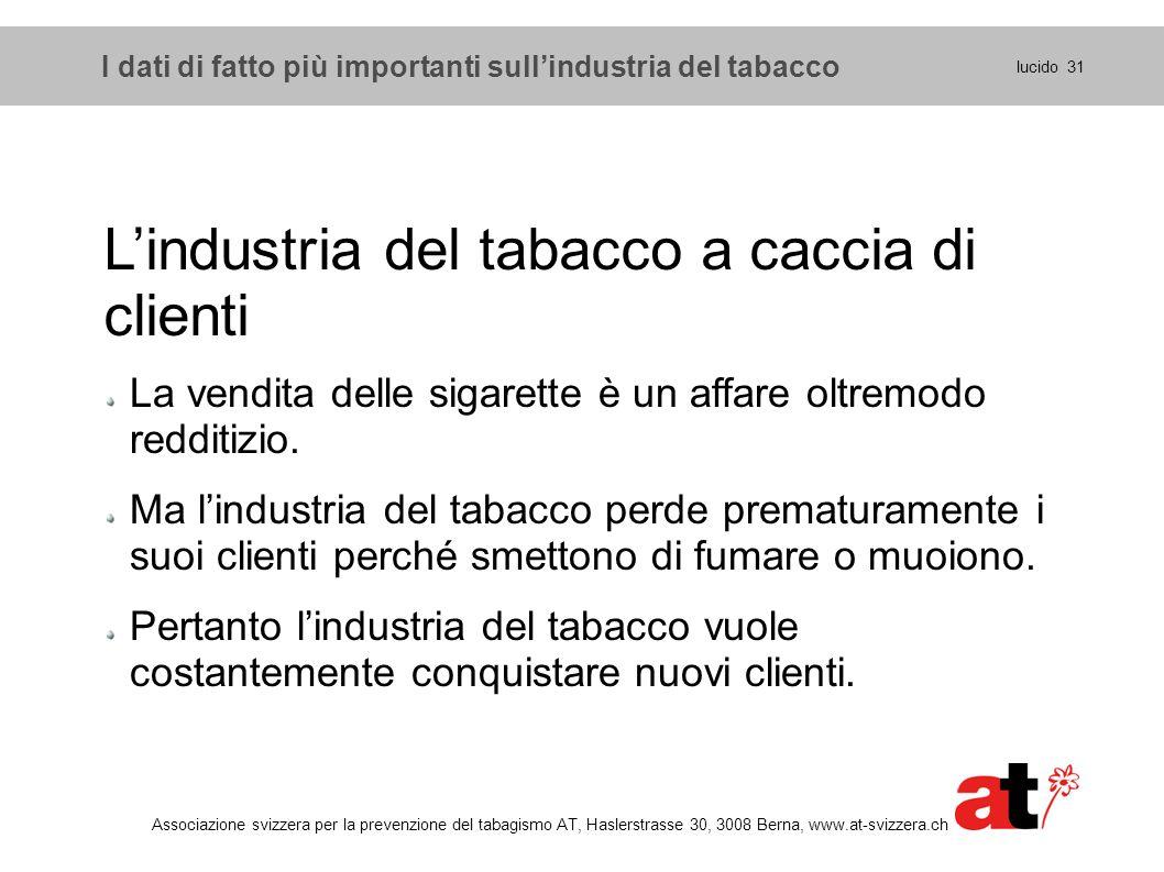 I dati di fatto più importanti sull'industria del tabacco lucido 31 Associazione svizzera per la prevenzione del tabagismo AT, Haslerstrasse 30, 3008