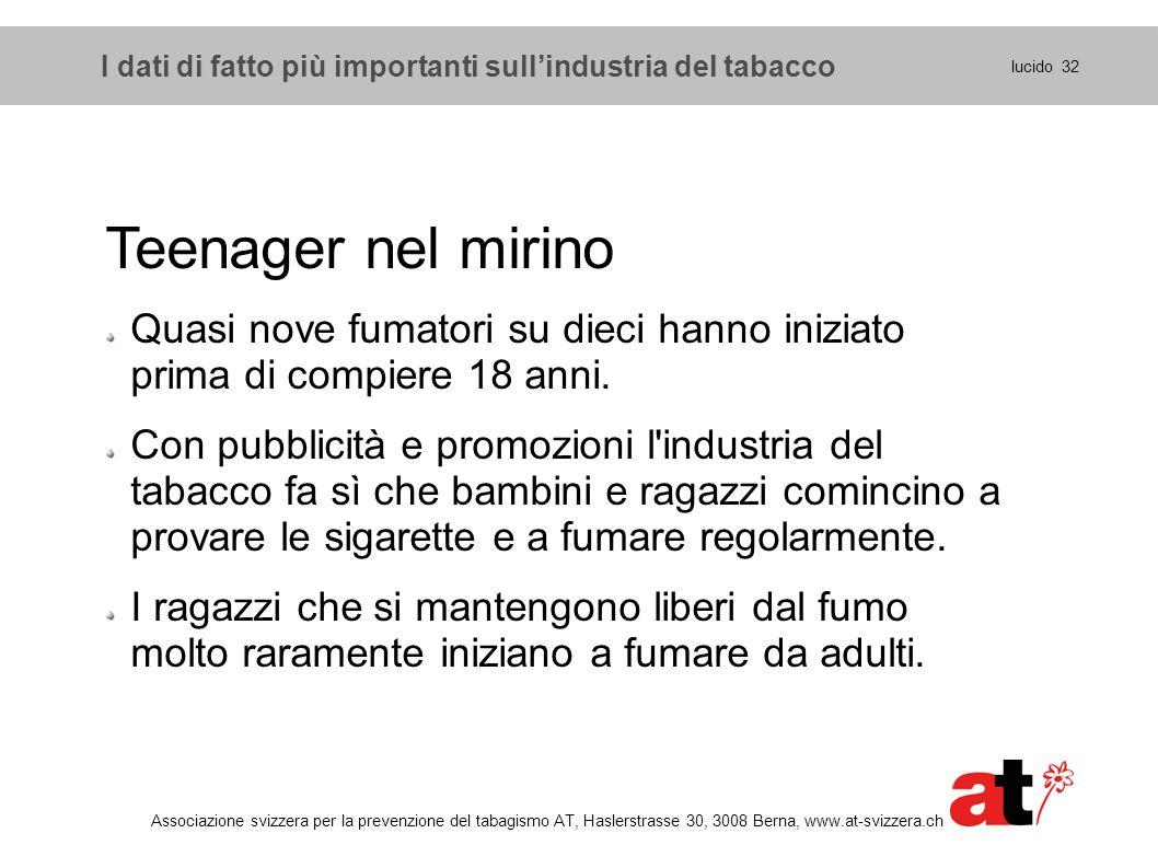 lucido 32 Associazione svizzera per la prevenzione del tabagismo AT, Haslerstrasse 30, 3008 Berna, www.at-svizzera.ch Teenager nel mirino Quasi nove f