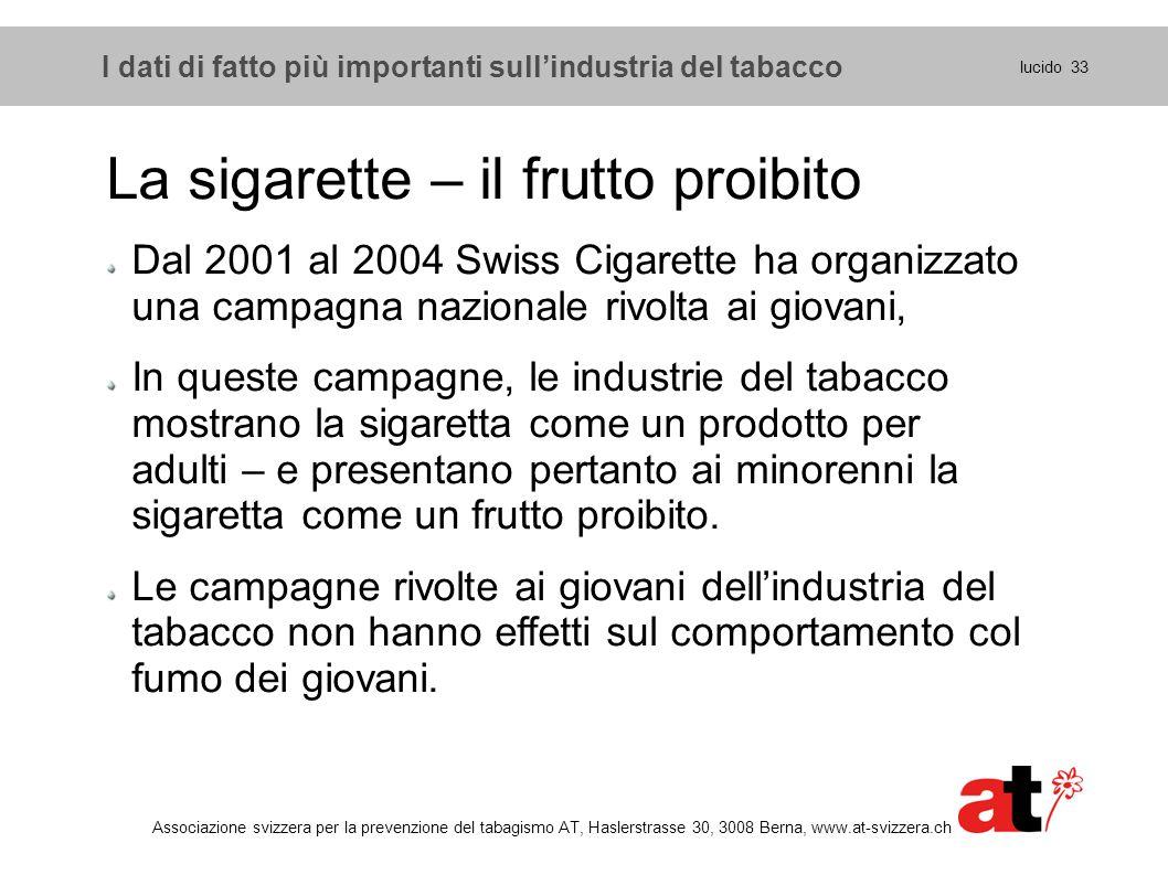 lucido 33 Associazione svizzera per la prevenzione del tabagismo AT, Haslerstrasse 30, 3008 Berna, www.at-svizzera.ch La sigarette – il frutto proibit