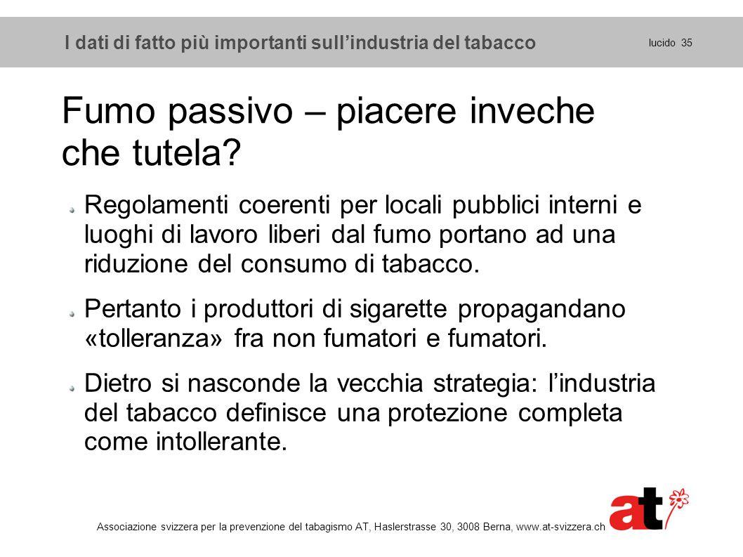 lucido 35 Associazione svizzera per la prevenzione del tabagismo AT, Haslerstrasse 30, 3008 Berna, www.at-svizzera.ch Fumo passivo – piacere inveche c