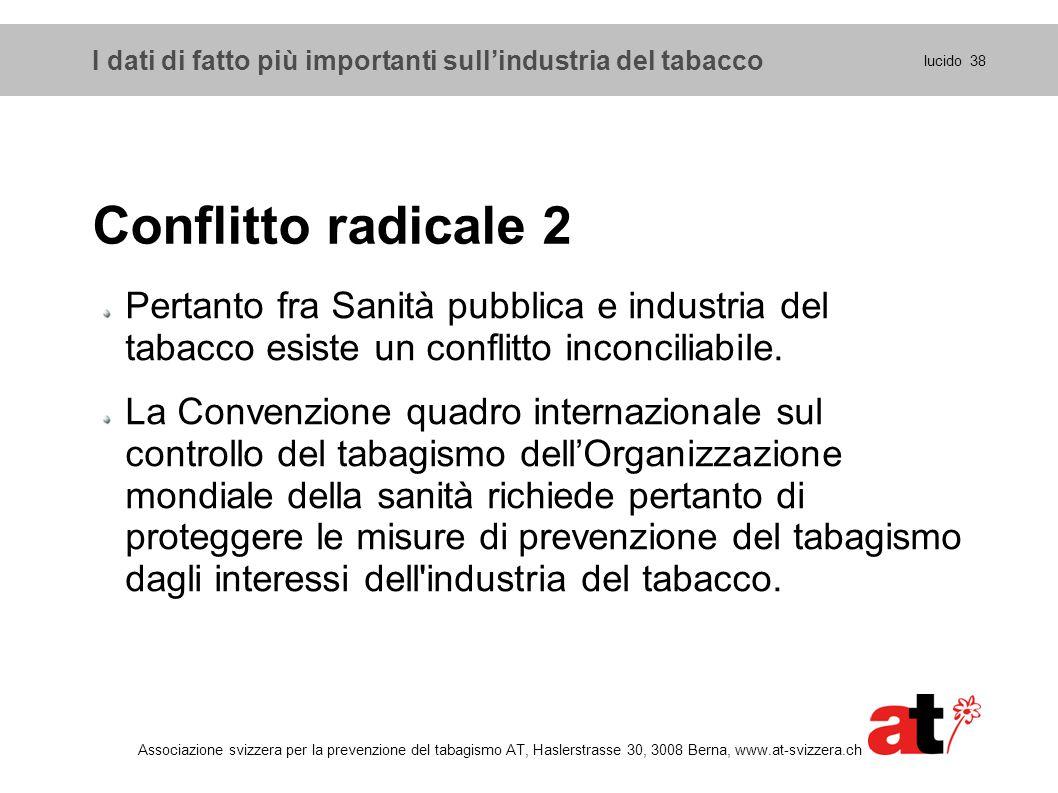 lucido 38 Associazione svizzera per la prevenzione del tabagismo AT, Haslerstrasse 30, 3008 Berna, www.at-svizzera.ch Conflitto radicale 2 Pertanto fr