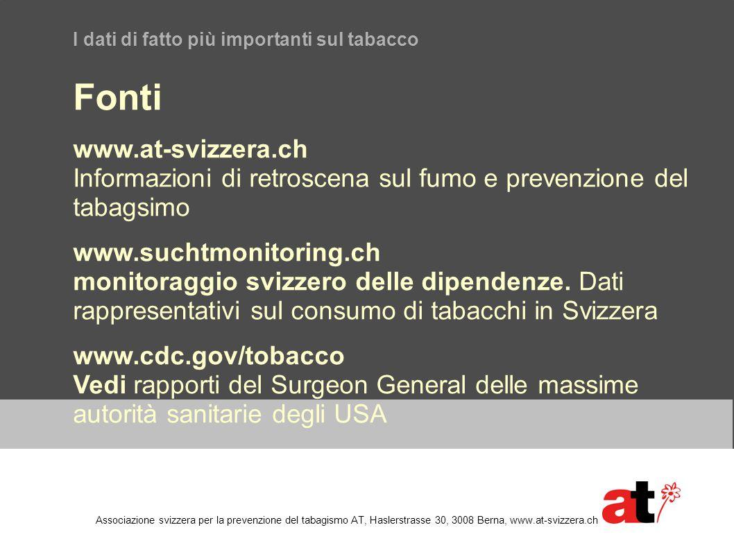 I dati di fatto più importanti sul tabacco Fonti www.at-svizzera.ch Informazioni di retroscena sul fumo e prevenzione del tabagsimo www.suchtmonitorin