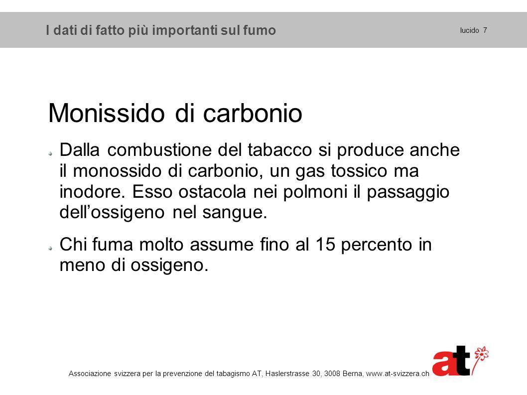 I dati di fatto più importanti sul fumo lucido 18 Associazione svizzera per la prevenzione del tabagismo AT, Haslerstrasse 30, 3008 Berna, www.at-svizzera.ch I vantaggi di chi smette di fumare 2 Entro nove mesi diminuiscono tosse e insufficienza respiratoria dovute al fumo.
