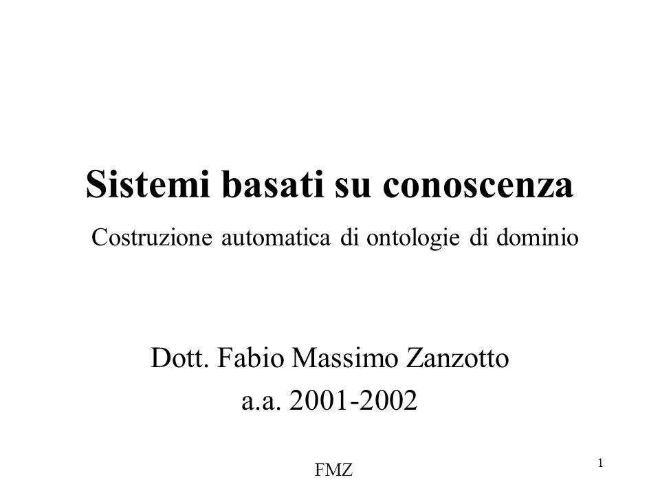 FMZ 1 Sistemi basati su conoscenza Costruzione automatica di ontologie di dominio Dott.