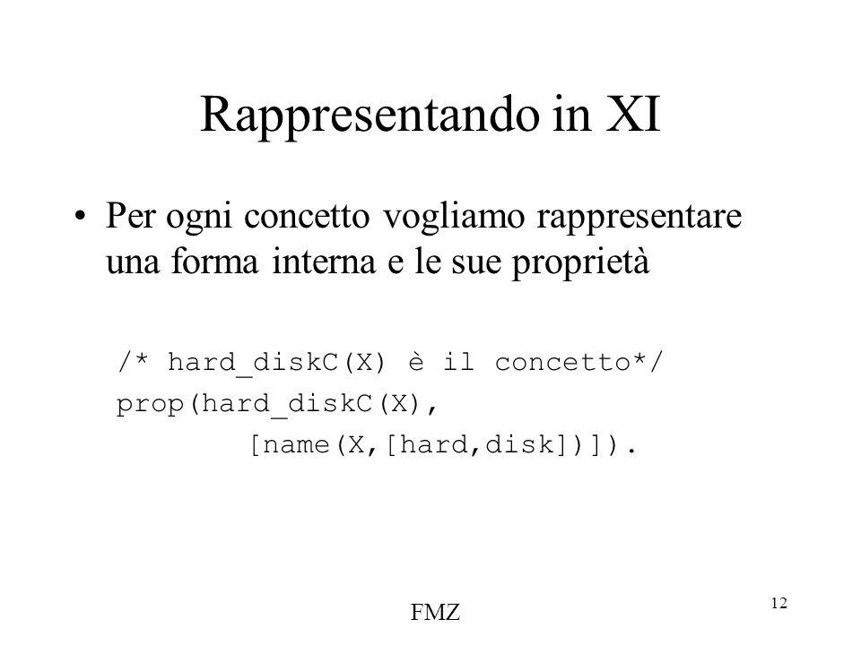 FMZ 12 Rappresentando in XI Per ogni concetto vogliamo rappresentare una forma interna e le sue proprietà /* hard_diskC(X) è il concetto*/ prop(hard_diskC(X), [name(X,[hard,disk])]).