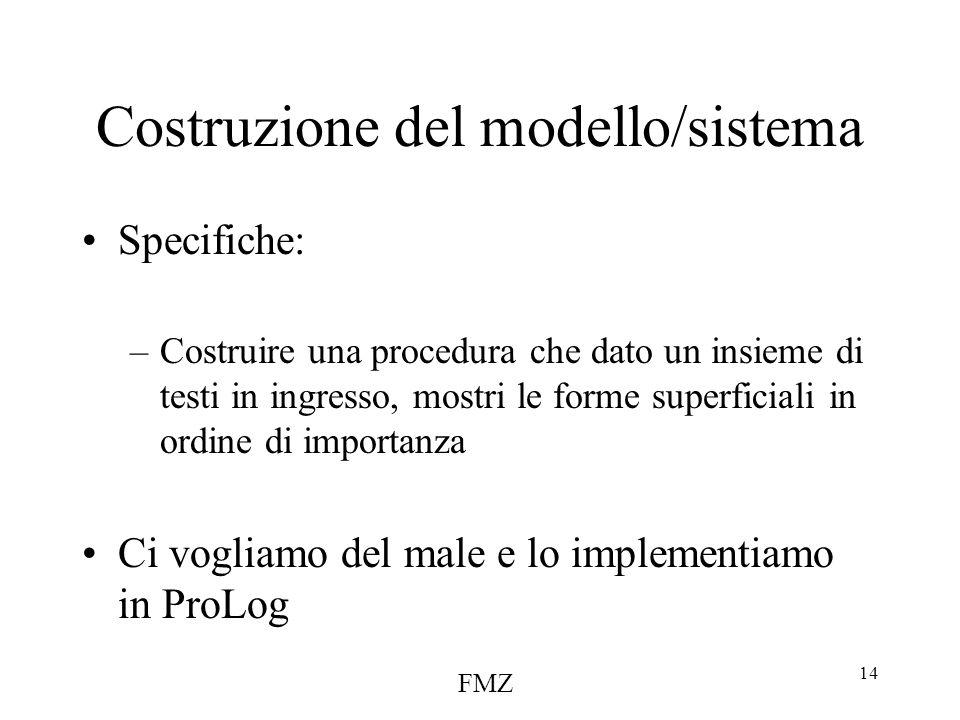 FMZ 14 Costruzione del modello/sistema Specifiche: –Costruire una procedura che dato un insieme di testi in ingresso, mostri le forme superficiali in ordine di importanza Ci vogliamo del male e lo implementiamo in ProLog