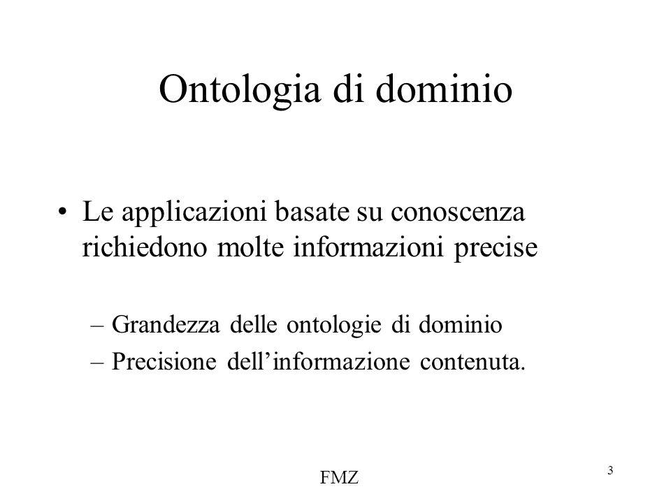 FMZ 3 Ontologia di dominio Le applicazioni basate su conoscenza richiedono molte informazioni precise –Grandezza delle ontologie di dominio –Precisione dell'informazione contenuta.