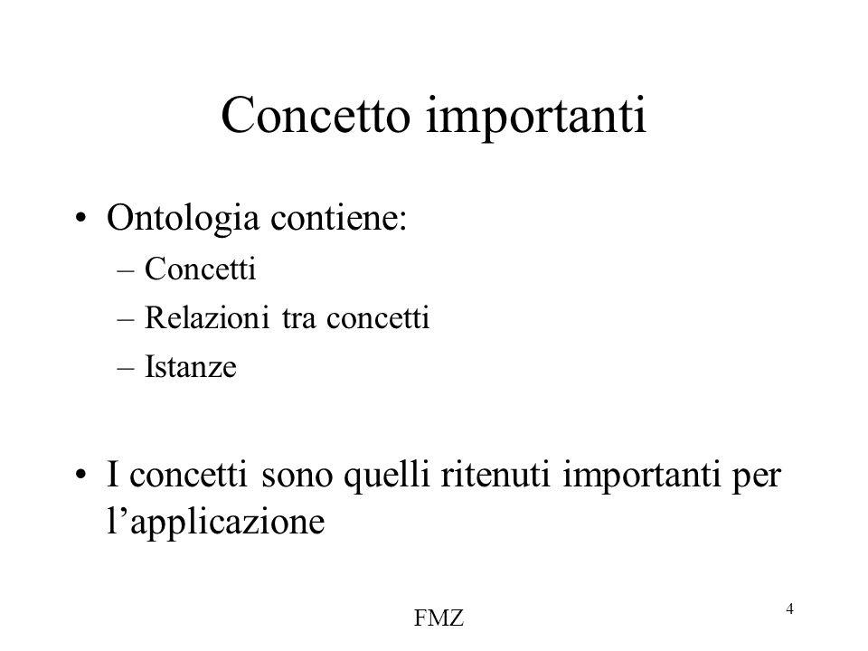 FMZ 4 Concetto importanti Ontologia contiene: –Concetti –Relazioni tra concetti –Istanze I concetti sono quelli ritenuti importanti per l'applicazione
