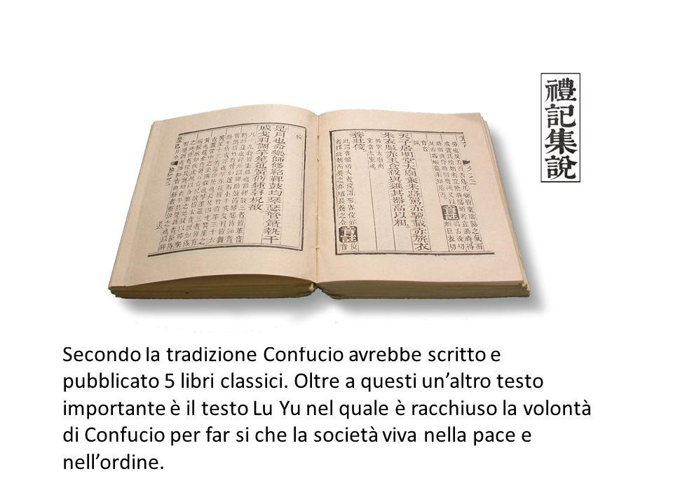 Secondo la tradizione Confucio avrebbe scritto e pubblicato 5 libri classici. Oltre a questi un'altro testo importante è il testo Lu Yu nel quale è ra