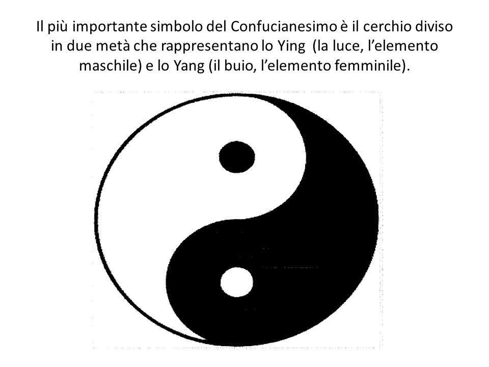 Il più importante simbolo del Confucianesimo è il cerchio diviso in due metà che rappresentano lo Ying (la luce, l'elemento maschile) e lo Yang (il bu