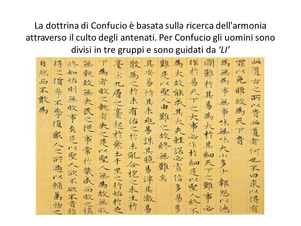 La dottrina di Confucio è basata sulla ricerca dell'armonia attraverso il culto degli antenati. Per Confucio gli uomini sono divisi in tre gruppi e so