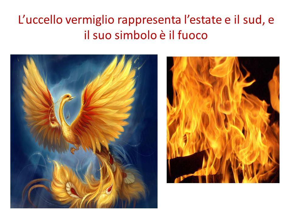 L'uccello vermiglio rappresenta l'estate e il sud, e il suo simbolo è il fuoco