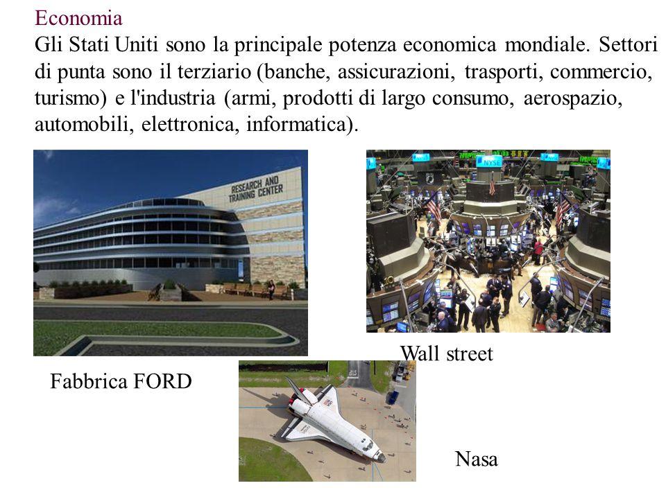 Economia Gli Stati Uniti sono la principale potenza economica mondiale. Settori di punta sono il terziario (banche, assicurazioni, trasporti, commerci
