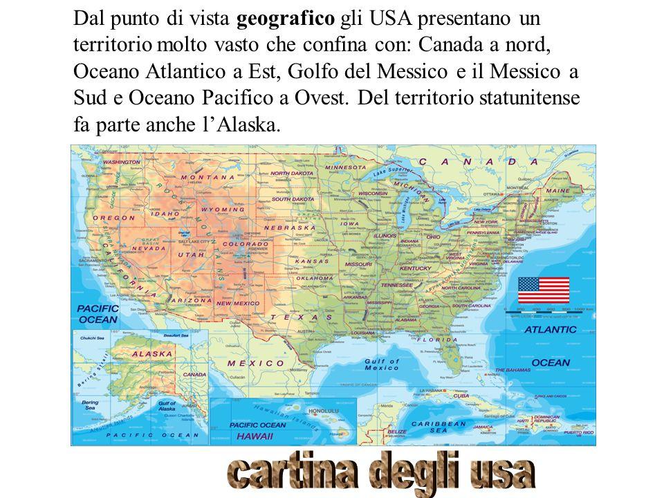 Dal punto di vista geografico gli USA presentano un territorio molto vasto che confina con: Canada a nord, Oceano Atlantico a Est, Golfo del Messico e