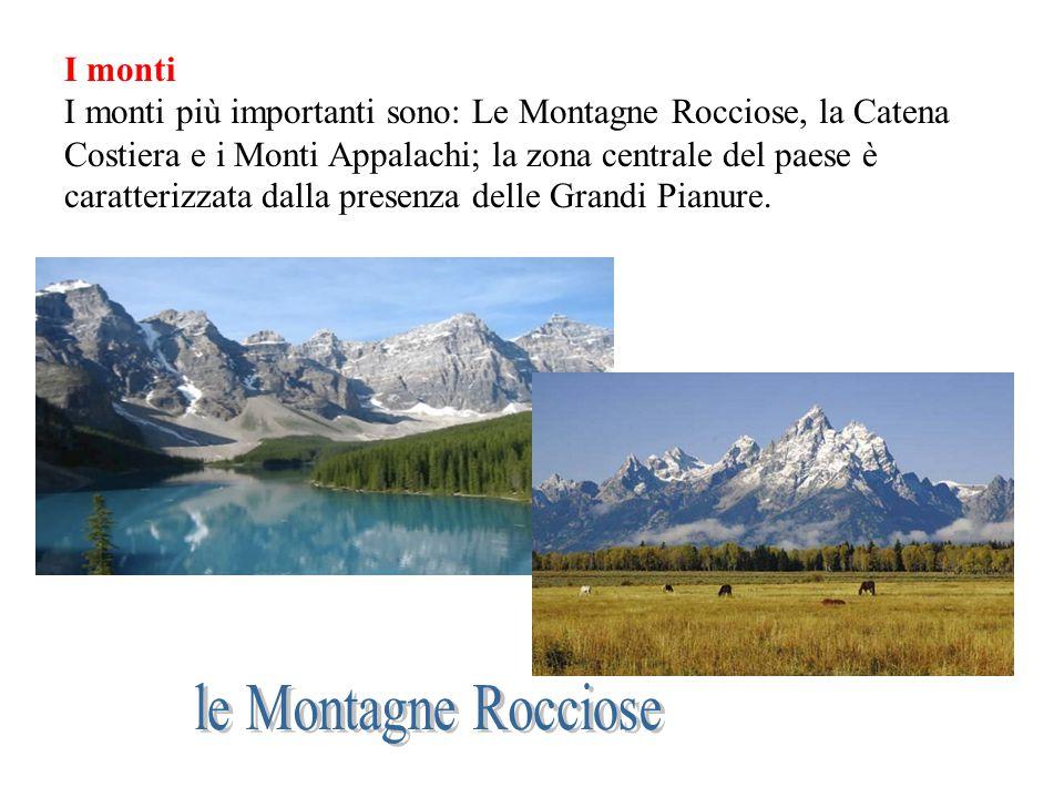 I monti I monti più importanti sono: Le Montagne Rocciose, la Catena Costiera e i Monti Appalachi; la zona centrale del paese è caratterizzata dalla p