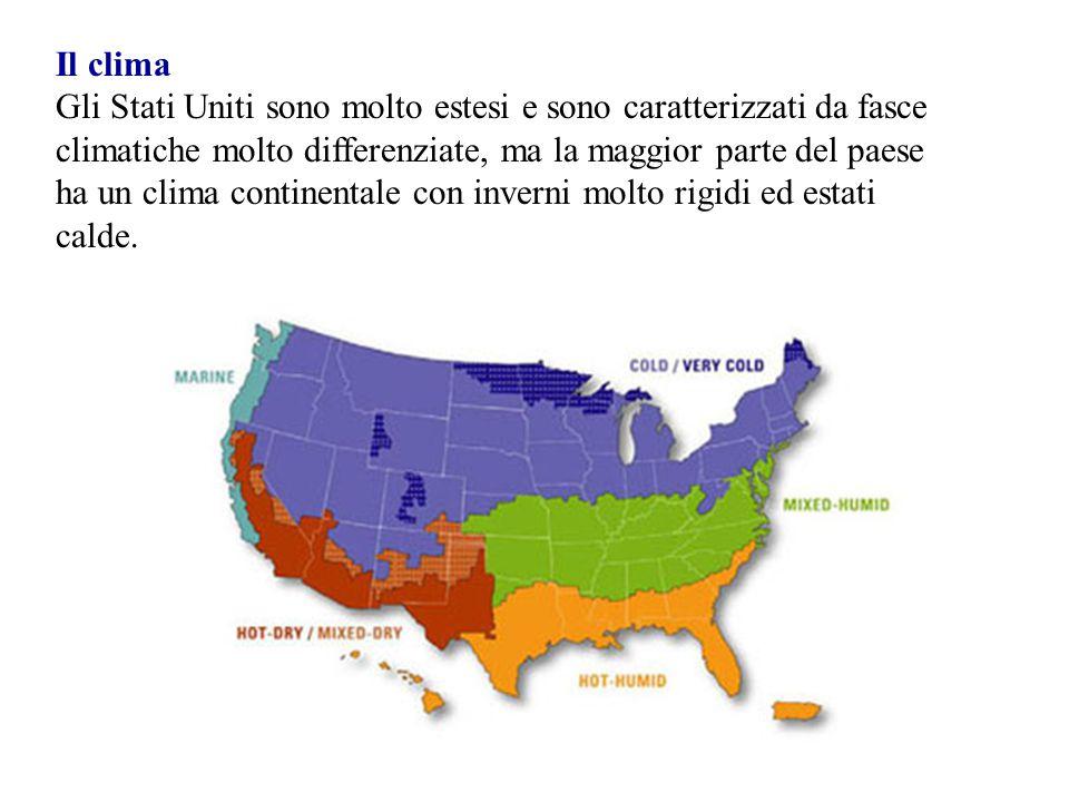 Il clima Gli Stati Uniti sono molto estesi e sono caratterizzati da fasce climatiche molto differenziate, ma la maggior parte del paese ha un clima co