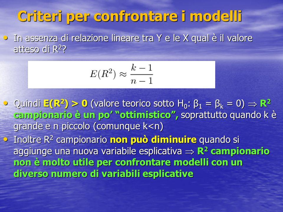 Correzione a R 2: R 2 adjusted R 2 adjusted = 1 in presenza di dipendenza lineare perfetta (R 2 = 1 e DEV(E) = 0) R 2 adjusted = 1 in presenza di dipendenza lineare perfetta (R 2 = 1 e DEV(E) = 0) R 2 adjusted è però meno interpretabile di R 2 : ad esempio, se R 2 = 0 risulta R 2 adjusted è però meno interpretabile di R 2 : ad esempio, se R 2 = 0 risulta In pratica, si hanno spesso problemi con molte potenziali variabili esplicative: come selezionarle.
