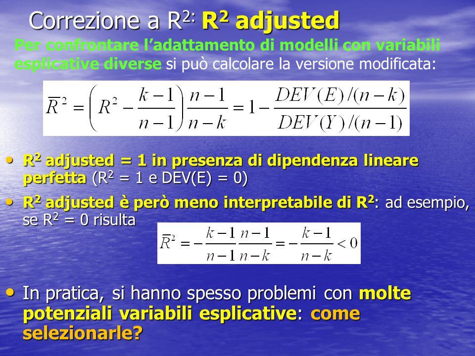 Selezione delle variabili La scelta delle variabili non può prescindere dalla conoscenza del problema analizzato La scelta delle variabili non può prescindere dalla conoscenza del problema analizzato Se le variabili potenzialmente importanti sono molte, può essere utile limitare l'analisi a un sottoinsieme: Se le variabili potenzialmente importanti sono molte, può essere utile limitare l'analisi a un sottoinsieme: –Problemi di collinearità  (X'X) quasi non invertibile –Problemi di previsione: overfitting –Semplificazione nella comunicazione dei risultati –Non bisogna però pensare che solo i risultati significativi siano importanti  selection bias Selezione del sottoinsieme ottimo di variabili attraverso R 2 (adjusted): di solito è proibitiva dal punto di vista pratico Selezione del sottoinsieme ottimo di variabili attraverso R 2 (adjusted): di solito è proibitiva dal punto di vista pratico Procedure automatiche di selezione backward e forward attraverso i test F Procedure automatiche di selezione backward e forward attraverso i test F In pratica: v.
