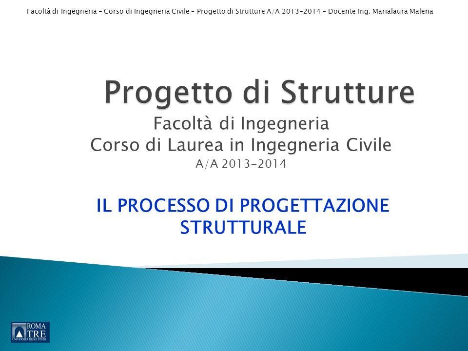 Facoltà di Ingegneria - Corso di Ingegneria Civile – Progetto di Strutture A/A 2013-2014 – Docente Ing. Marialaura Malena Facoltà di Ingegneria Corso