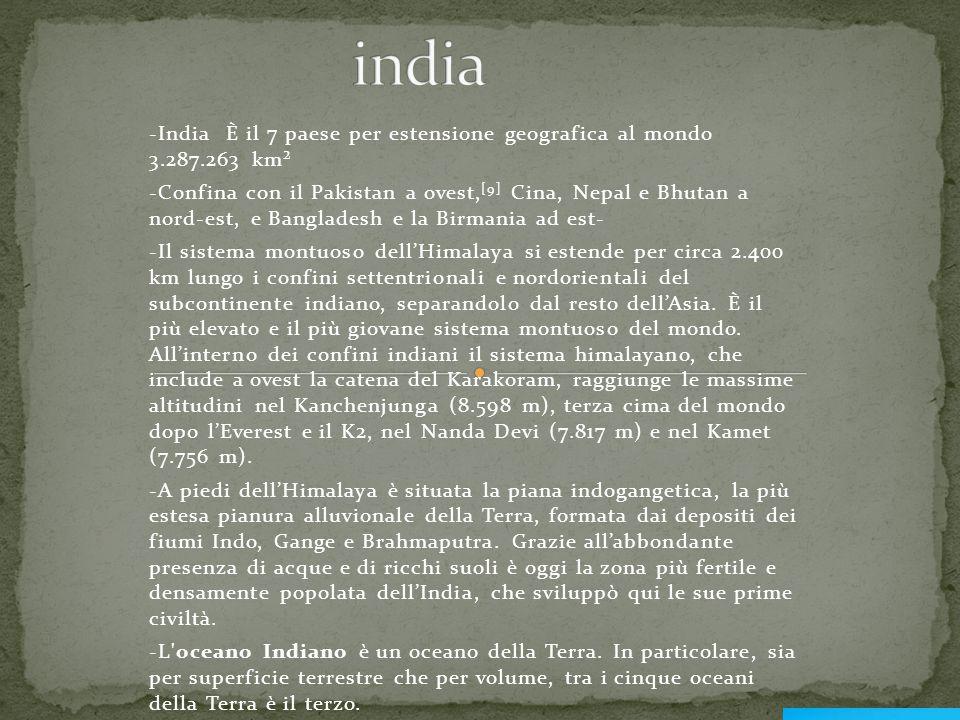 -India È il 7 paese per estensione geografica al mondo 3.287.263 km² -Confina con il Pakistan a ovest, [9] Cina, Nepal e Bhutan a nord-est, e Banglade