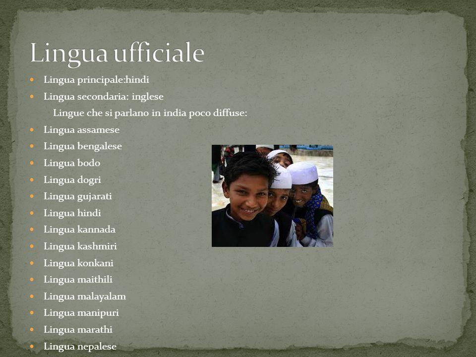 Lingua principale:hindi Lingua secondaria: inglese Lingue che si parlano in india poco diffuse: Lingua assamese Lingua bengalese Lingua bodo Lingua do