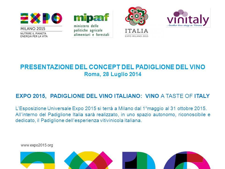 www.expo2015.org PRESENTAZIONE DEL CONCEPT DEL PADIGLIONE DEL VINO Roma, 28 Luglio 2014 EXPO 2015, PADIGLIONE DEL VINO ITALIANO: VINO A TASTE OF ITALY