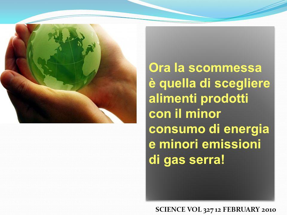 SCIENCE VOL 327 12 FEBRUARY 2010 Ora la scommessa è quella di scegliere alimenti prodotti con il minor consumo di energia e minori emissioni di gas serra!