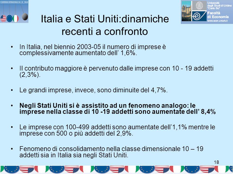 18 Italia e Stati Uniti:dinamiche recenti a confronto In Italia, nel biennio 2003-05 il numero di imprese è complessivamente aumentato dell' 1,6%. Il