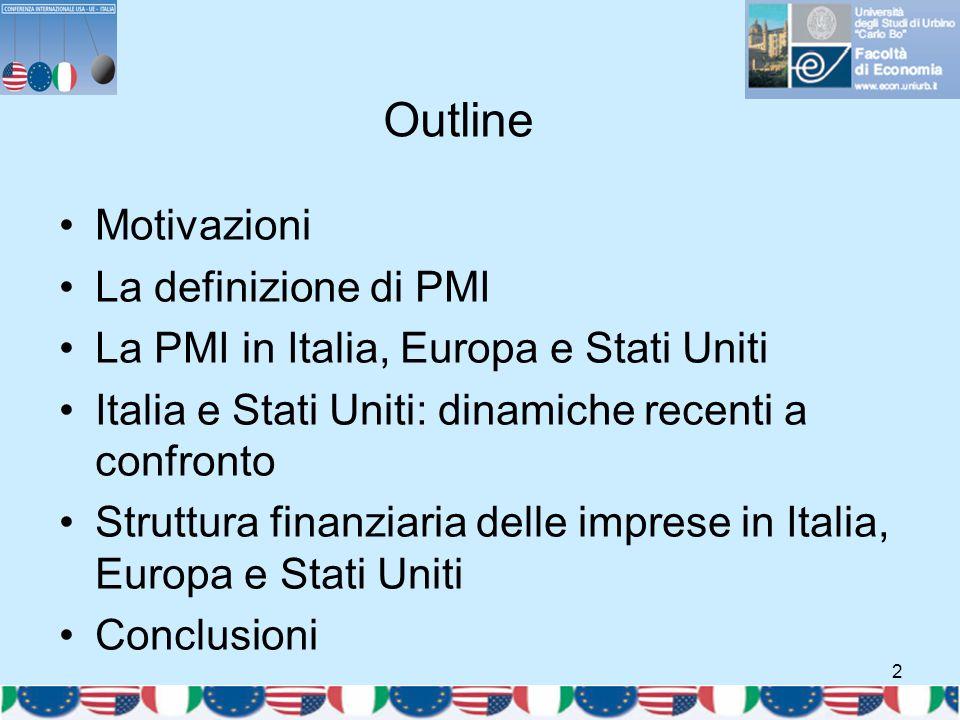 2 Outline Motivazioni La definizione di PMI La PMI in Italia, Europa e Stati Uniti Italia e Stati Uniti: dinamiche recenti a confronto Struttura finan