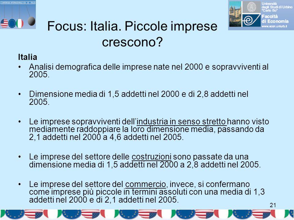 21 Focus: Italia. Piccole imprese crescono? Italia Analisi demografica delle imprese nate nel 2000 e sopravviventi al 2005. Dimensione media di 1,5 ad