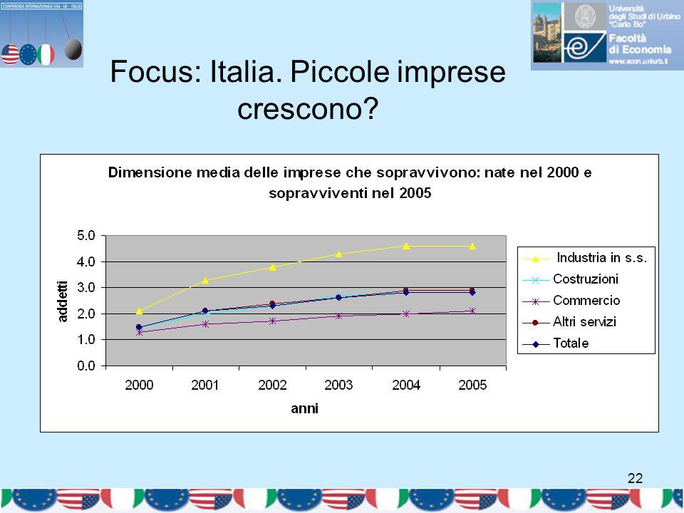 22 Focus: Italia. Piccole imprese crescono? Fonte: ISTAT.