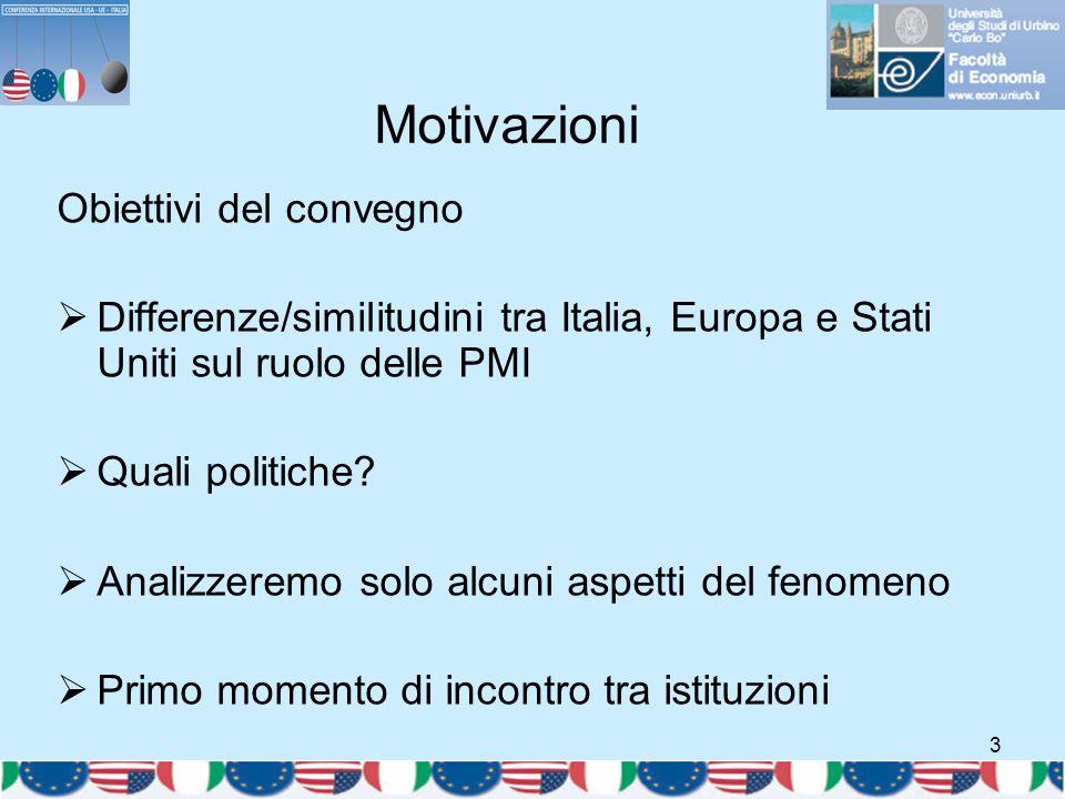 3 Motivazioni Obiettivi del convegno  Differenze/similitudini tra Italia, Europa e Stati Uniti sul ruolo delle PMI  Quali politiche?  Analizzeremo