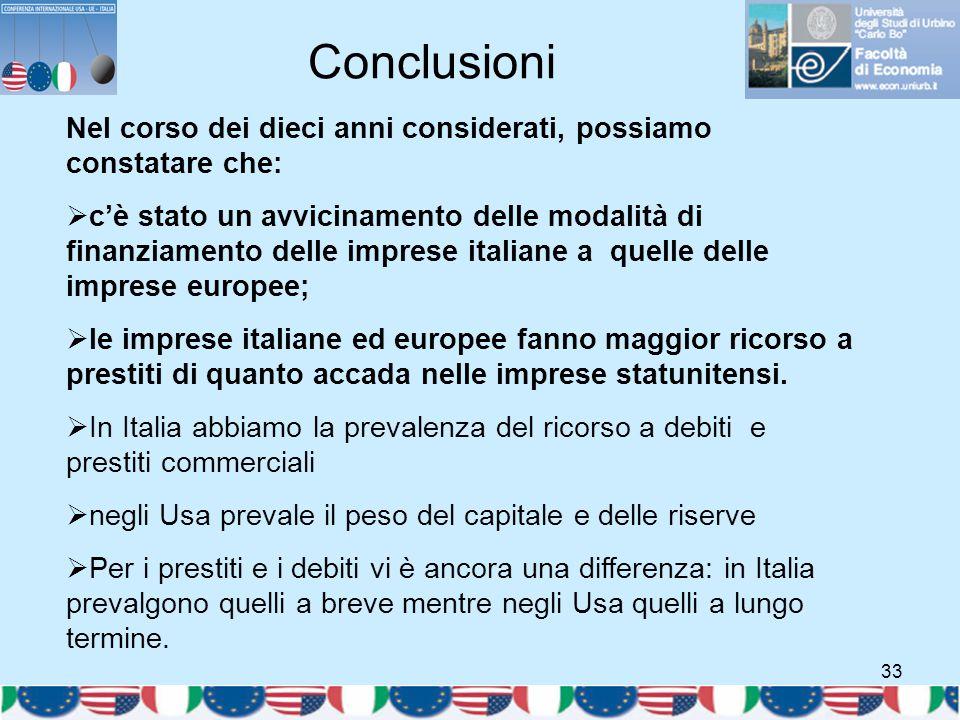 33 Nel corso dei dieci anni considerati, possiamo constatare che:  c'è stato un avvicinamento delle modalità di finanziamento delle imprese italiane