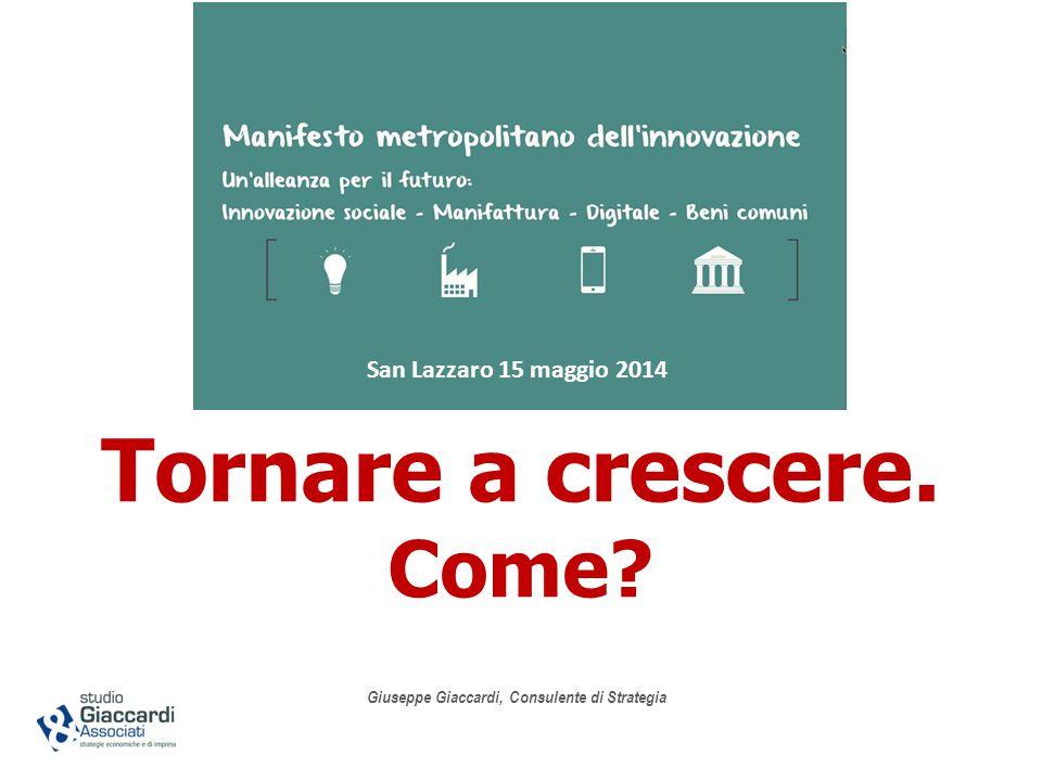 Tornare a crescere. Come Giuseppe Giaccardi, Consulente di Strategia San Lazzaro 15 maggio 2014