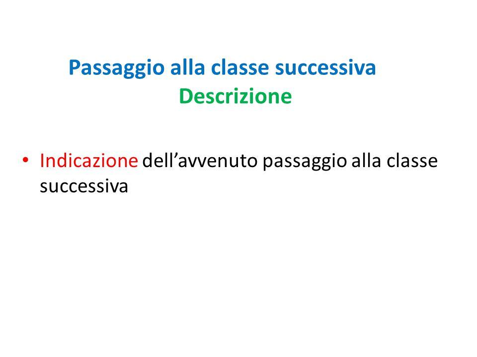 Passaggio alla classe successiva Descrizione Indicazione dell'avvenuto passaggio alla classe successiva